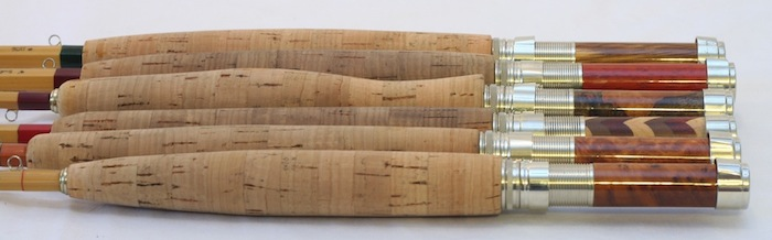 Six bamboo fly rods