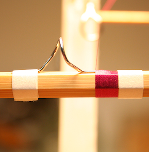 Bamboo fly rod wrapped in silk